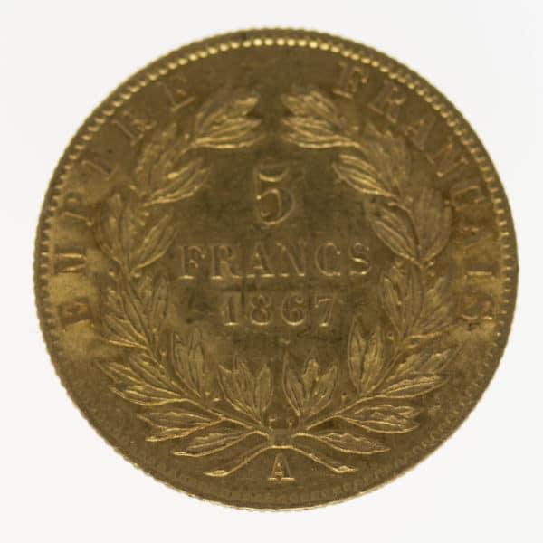 frankreich - Frankreich Napoleon III. 5 Francs 1867 A