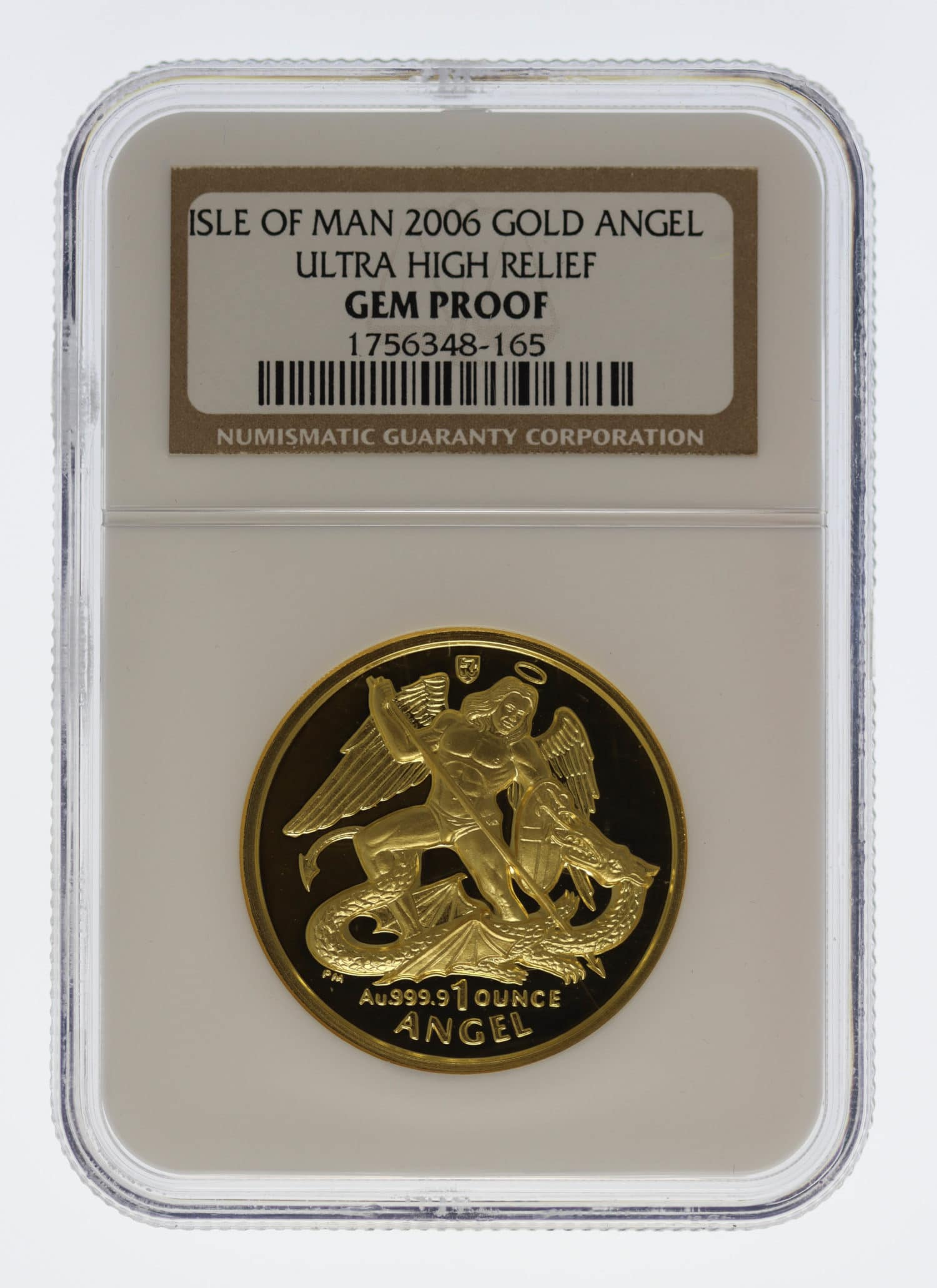 isle-of-man - Isle of Man Elisabeth II. 1 Unze 2006 Angel Ultra High Relief