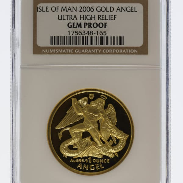 isle-of-man - Isle of Man Elisabeth II. 1 Unze 2006 Angel Ultra High Relief