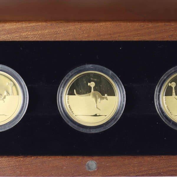 australien - Australien Elisabeth II. 3 Coin Set 2010 Kangaroo in Outback 3x 1/5 OZ