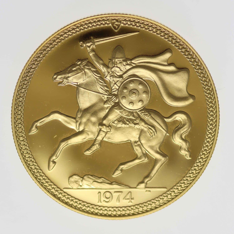 isle-of-man - Isle of Man Elisabeth II. 5 Pounds 1974