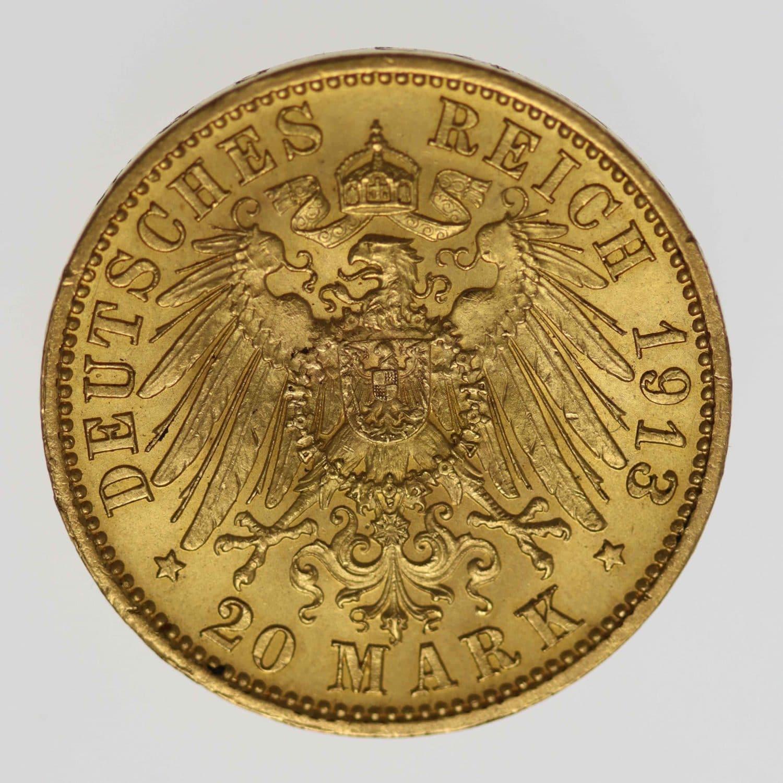 deutsches-kaiserreich-ab-1871 - Sachsen Friedrich August 20 Mark 1913
