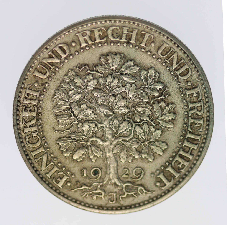 weimarer-republik-deutsche-silbermuenzen - Weimarer Republik 5 Reichsmark 1929 J Eichbaum