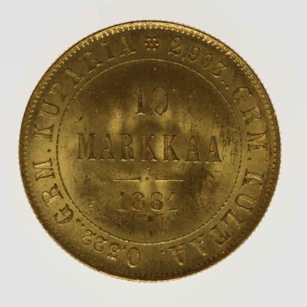 finnland - Finnland Alexander II. 10 Markkaa 1881
