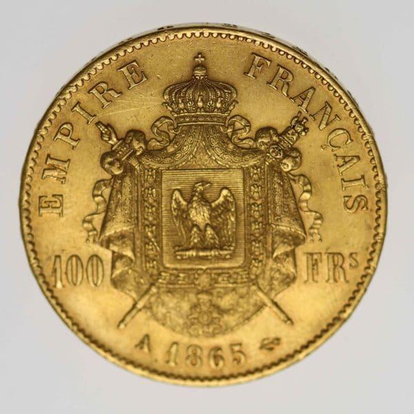 frankreich - Frankreich Napoleon III. 100 Francs 1865 A