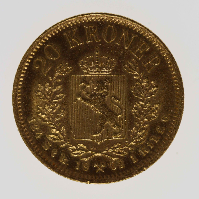 norwegen - Norwegen Oskar II. 20 Kronen 1902