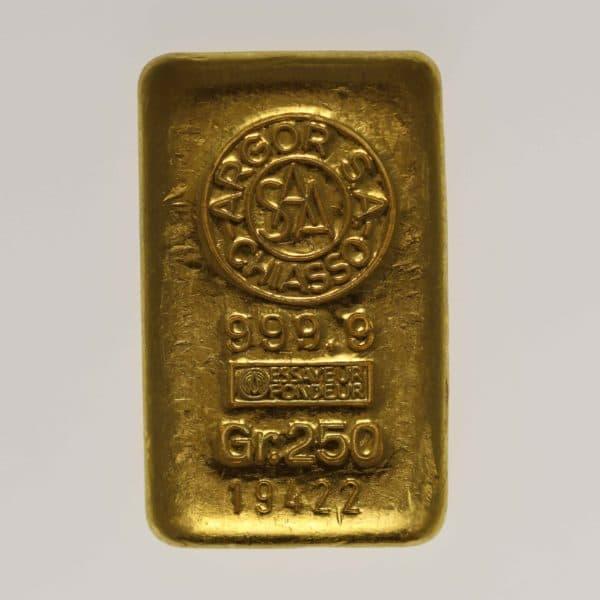 goldbarren - Goldbarren 250 GrammSchweiz S.B.S. Argor S.A. Chiasso