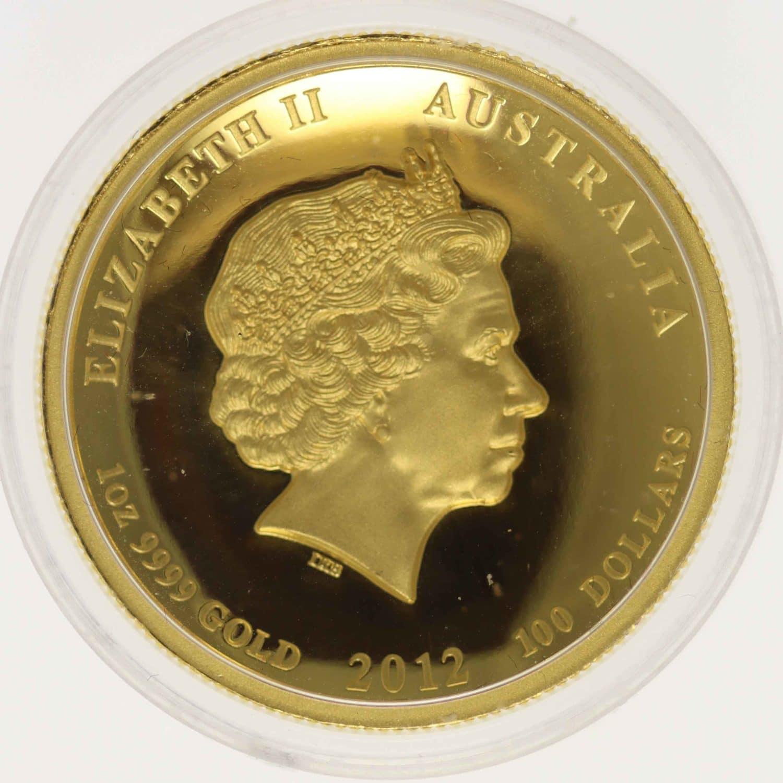 australien - Australien Elisabeth II. 100 Dollars 2012 Lunar II Dragon High Relief
