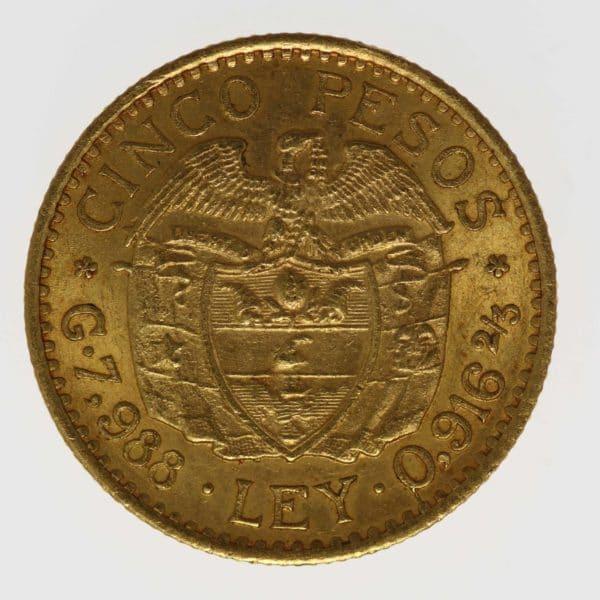 kolumbien - Kolumbien 5 Pesos 1926