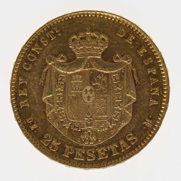 spanien - Spanien Alfonso XII. 25 Pesetas 1878 / 18-78