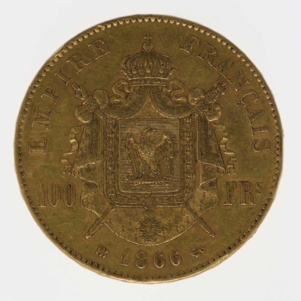 frankreich - Frankreich Napoleon III. 100 Francs 1866 BB