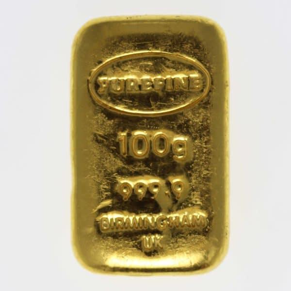 goldbarren - Goldbarren 100 GrammGroßbritannien Purefine Bullion Ltd. Birmingham