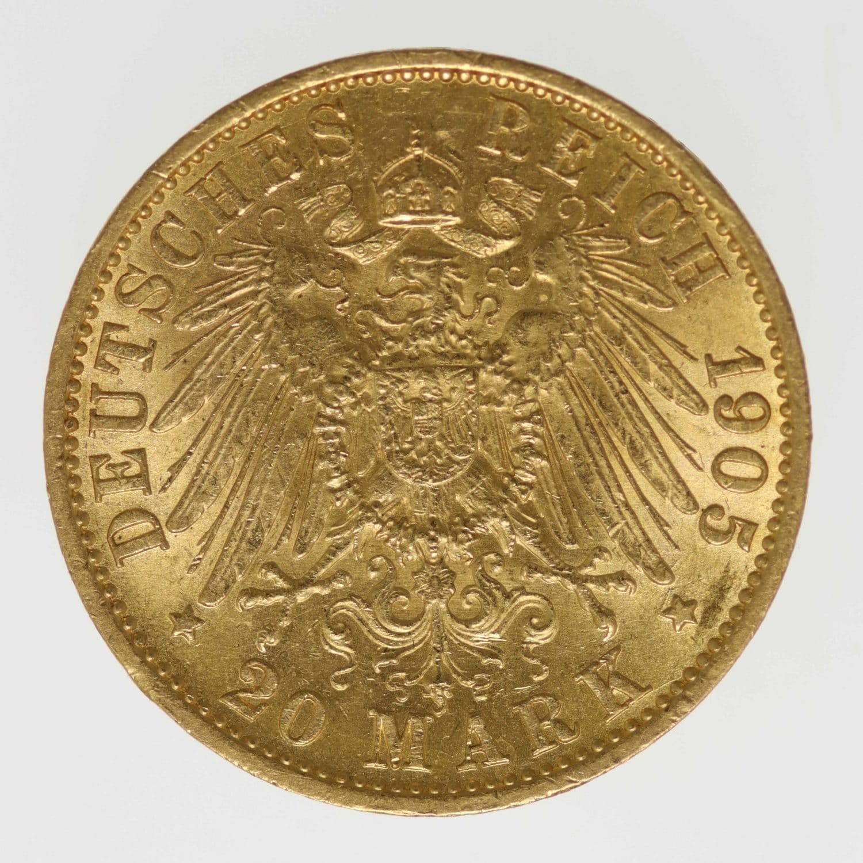 deutsches-kaiserreich-ab-1871 - Hessen Ernst Ludwig 20 Mark 1905