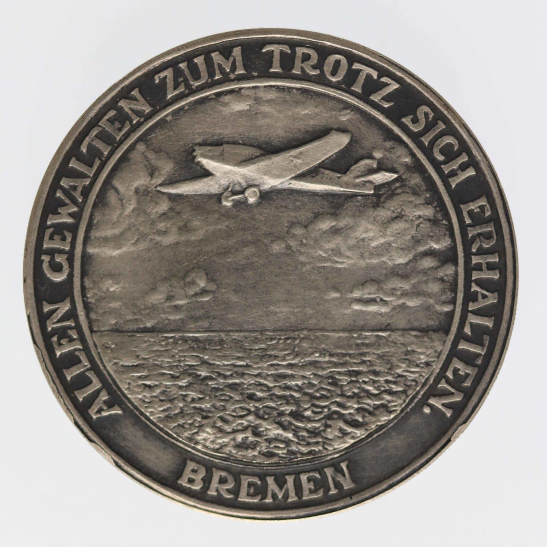 weimarer-republik-deutsche-silbermuenzen - Weimarer Republik Silbermedaille 1928 Transatlantikflug