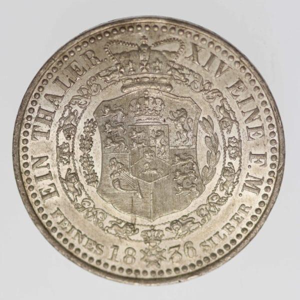 altdeutschland-deutsche-silbermuenzen - Hannover Wilhelm IV. Taler 1836