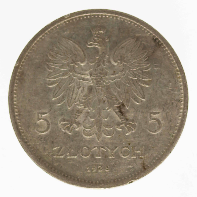 polen-silbermuenzen-uebriges-europa - Polen 5 Zloty 1928