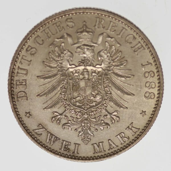 deutsches-kaiserreich-ab-1871-deutsche-silbermuenzen - Preussen Friedrich III. 2 Mark 1888