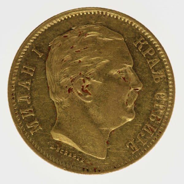 serbien - Serbien Milan I. 10 Dinara 1882