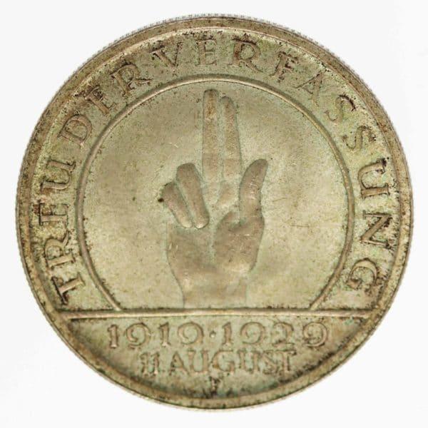 weimarer-republik-deutsche-silbermuenzen - Weimarer Republik 5 Reichsmark 1929 F Schwurhand