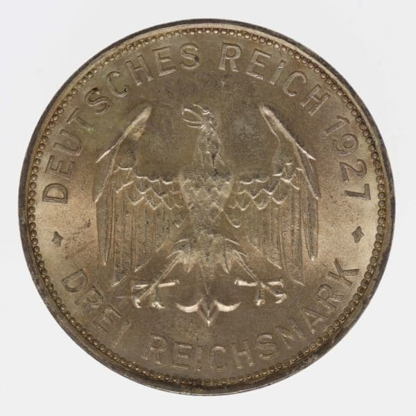 weimarer-republik-deutsche-silbermuenzen - Weimarer Republik 3 Reichsmark 1927 Uni Tübingen