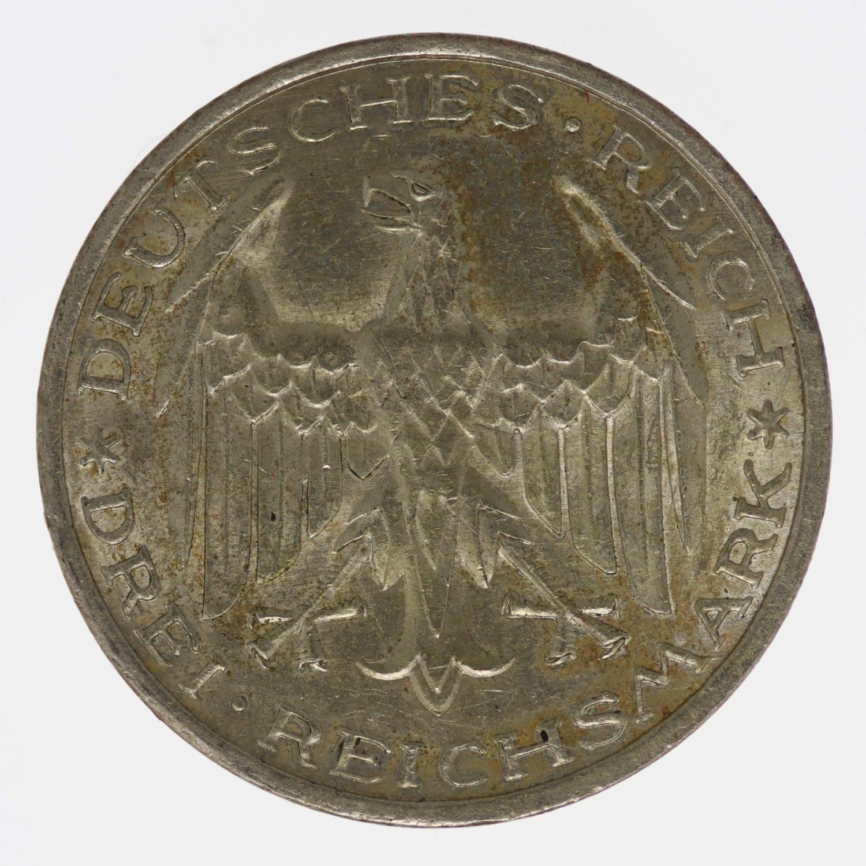 weimarer-republik-deutsche-silbermuenzen - Weimarer Republik 3 Reichsmark 1927 Uni Marburg