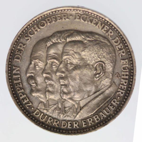 weimarer-republik-deutsche-silbermuenzen - Weimarer Republik Silbermedaille 1929 Zeppelin