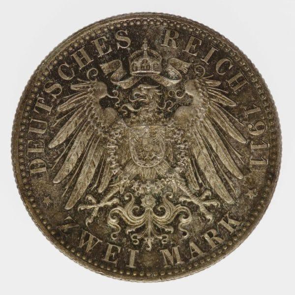 deutsches-kaiserreich-ab-1871-deutsche-silbermuenzen - Bayern Luitpold 2 Mark 1911