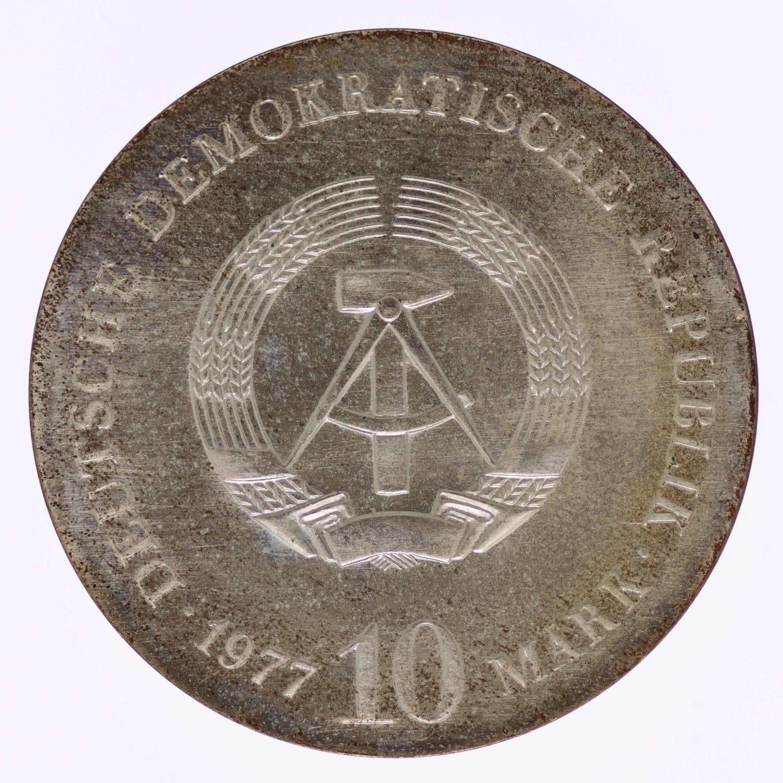 ddr-deutsche-silbermuenzen - DDR 10 Mark 1977 Otto von Guericke