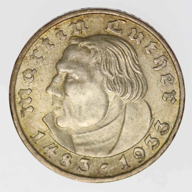 drittes-reich-deutsche-silbermuenzen - Drittes Reich 2 Reichsmark 1933 F Luther
