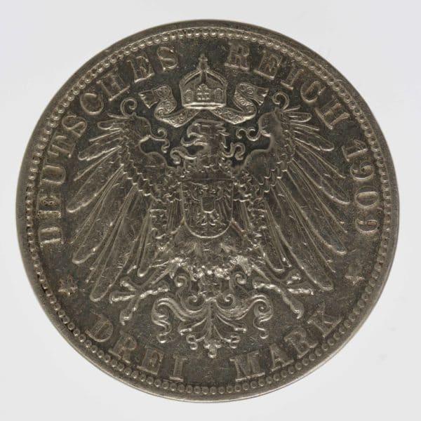 deutsches-kaiserreich-ab-1871-deutsche-silbermuenzen - Anhalt Friedrich II. 3 Mark 1909