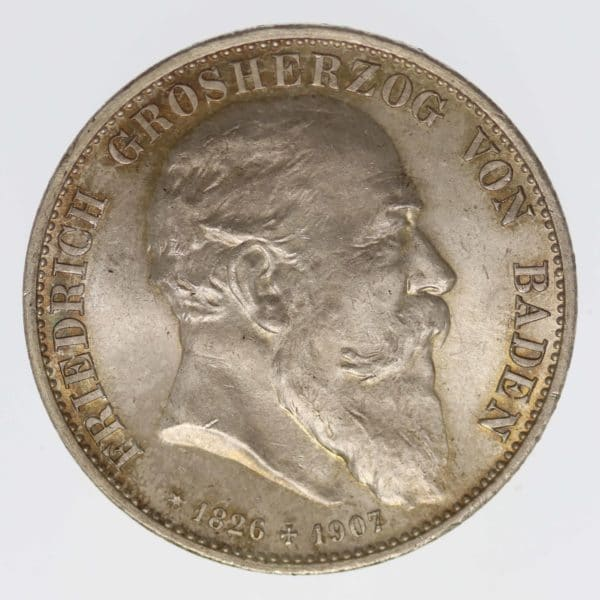 deutsches-kaiserreich-ab-1871-deutsche-silbermuenzen - Baden Friedrich I. 5 Mark 1907