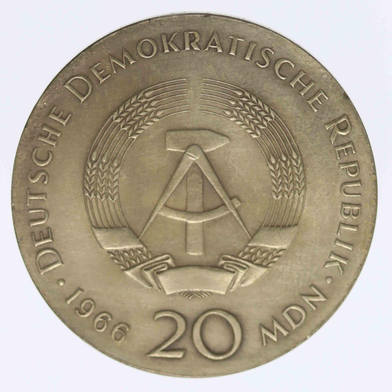 ddr-deutsche-silbermuenzen - DDR 20 Mark 1966 Leibnitz