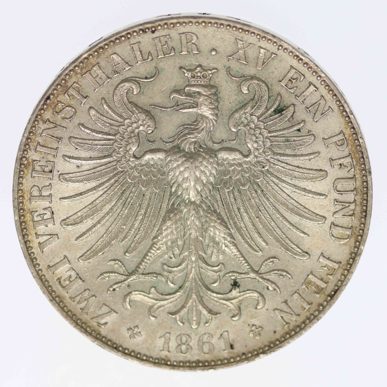 altdeutschland-deutsche-silbermuenzen - Frankfurt Stadt Vereinsdoppeltaler 1866