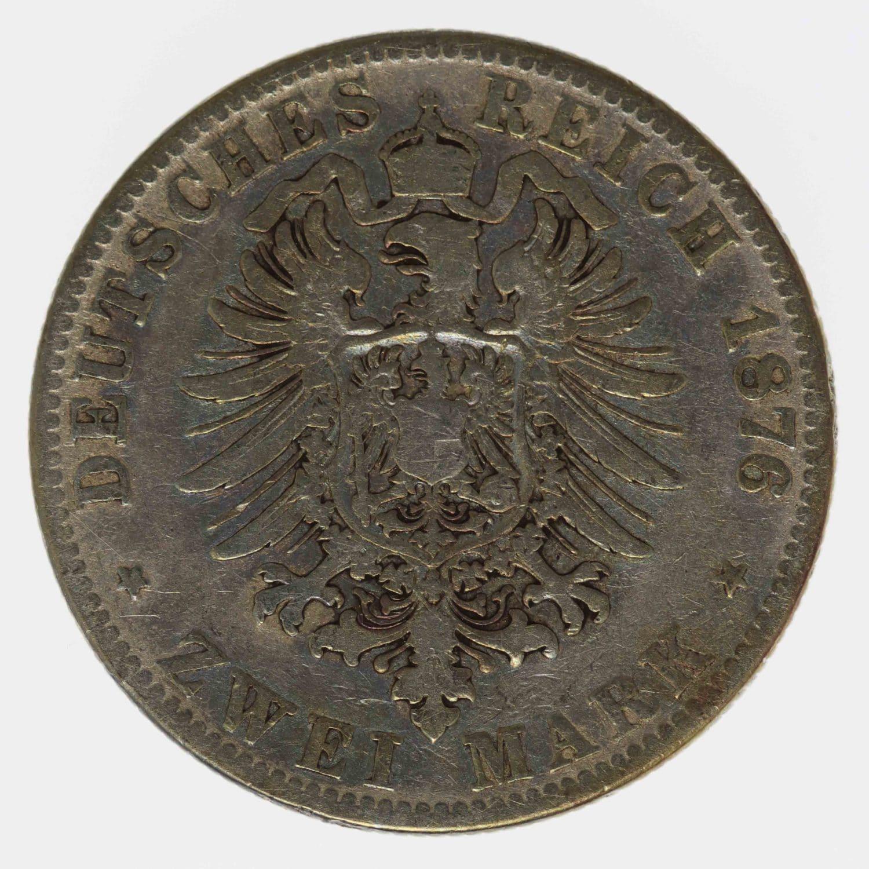 deutsches-kaiserreich-ab-1871-deutsche-silbermuenzen - Hessen Ludwig III. 2 Mark 1876