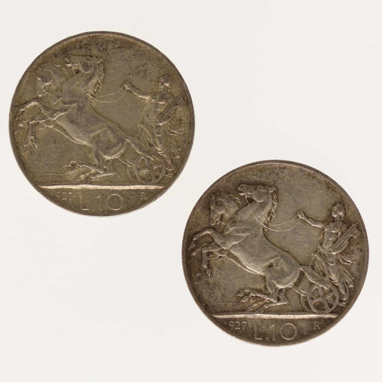 silber, italien-silbermuenzen-uebriges-europa - Italien Vittorio Emanuele III. 2x 10 Lire 1927