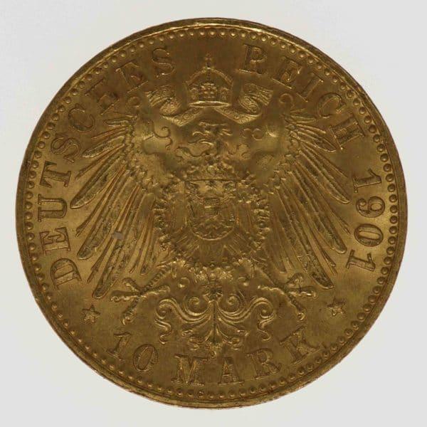 deutsches-kaiserreich-ab-1871 - Lübeck Stadtwappen 10 Mark 1901