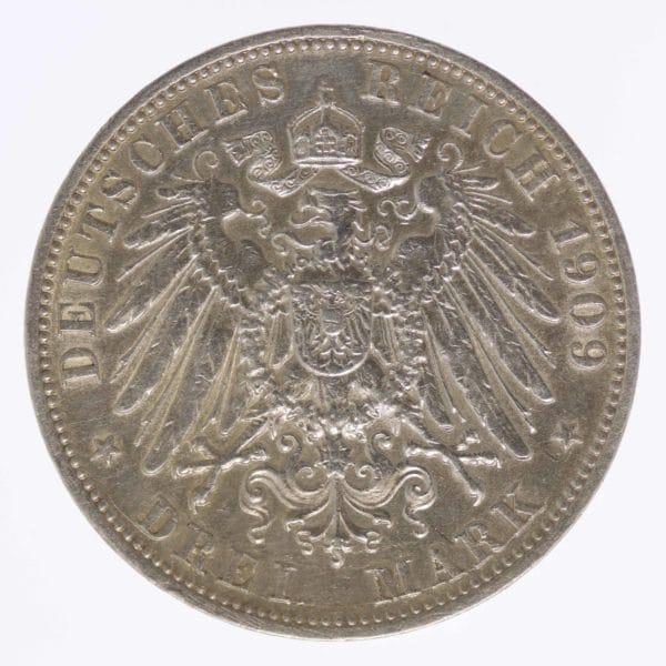 deutsches-kaiserreich-ab-1871-deutsche-silbermuenzen - Lübeck Stadtwappen 3 Mark 1909