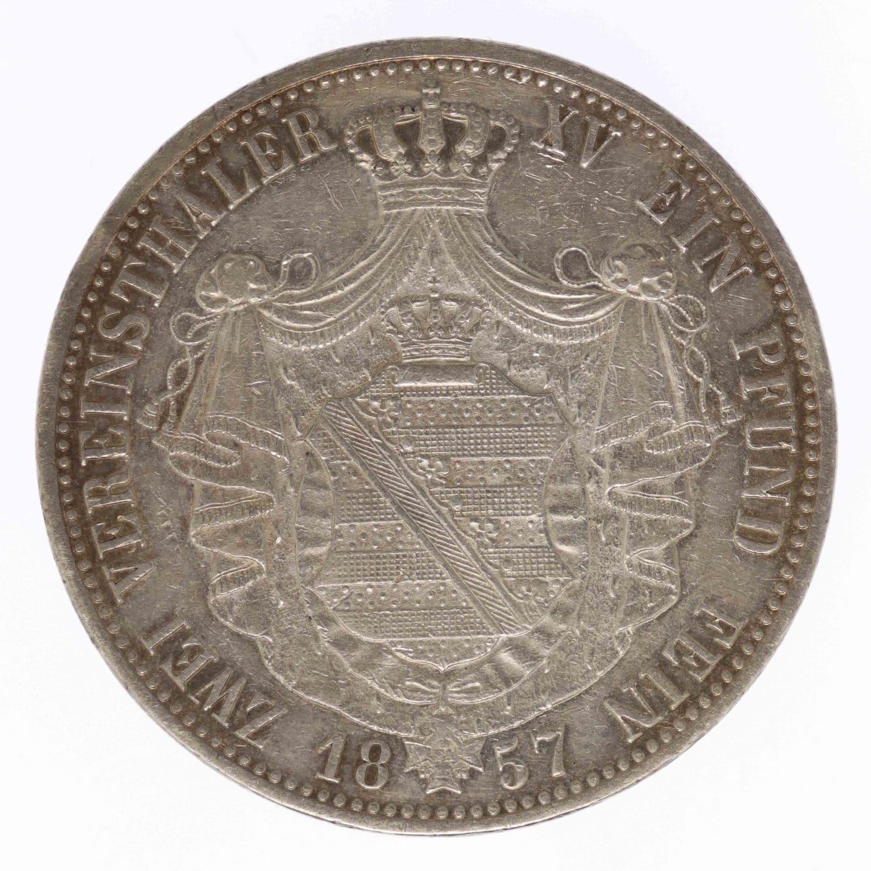 altdeutschland-deutsche-silbermuenzen - Sachsen Johann Doppeltaler 1857