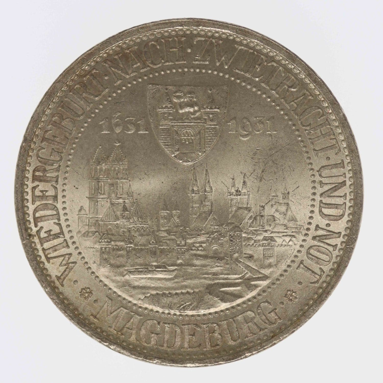weimarer-republik-deutsche-silbermuenzen - Weimarer Republik 3 Reichsmark 1931 Magdeburg