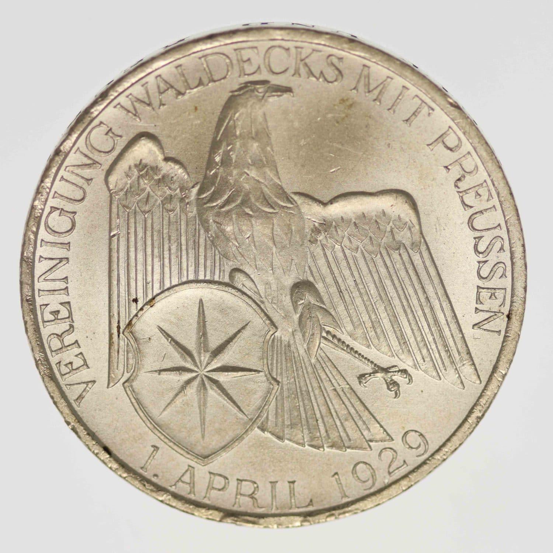 weimarer-republik-deutsche-silbermuenzen - Weimarer Republik 3 Reichsmark 1929 Waldeck
