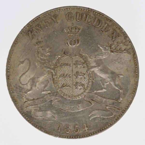 altdeutschland-deutsche-silbermuenzen - Württemberg Wilhelm I. 2 Gulden 1854