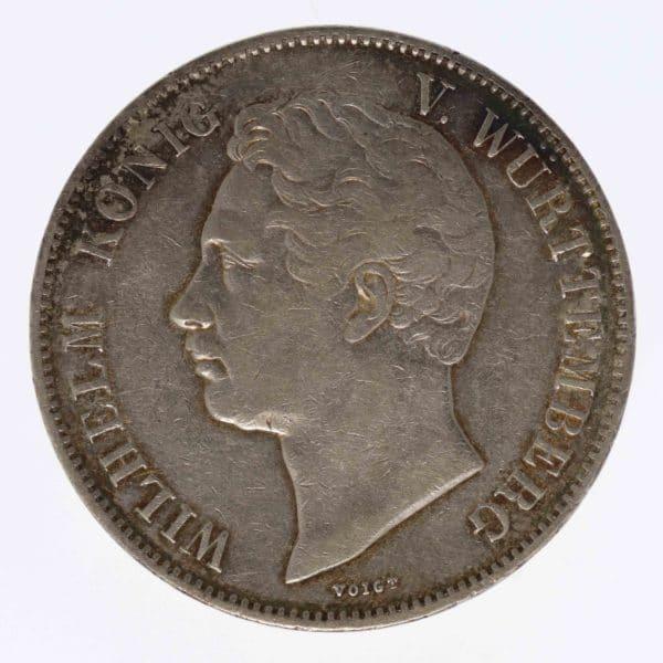 altdeutschland-deutsche-silbermuenzen - Württemberg Wilhelm 2 Taler 1843