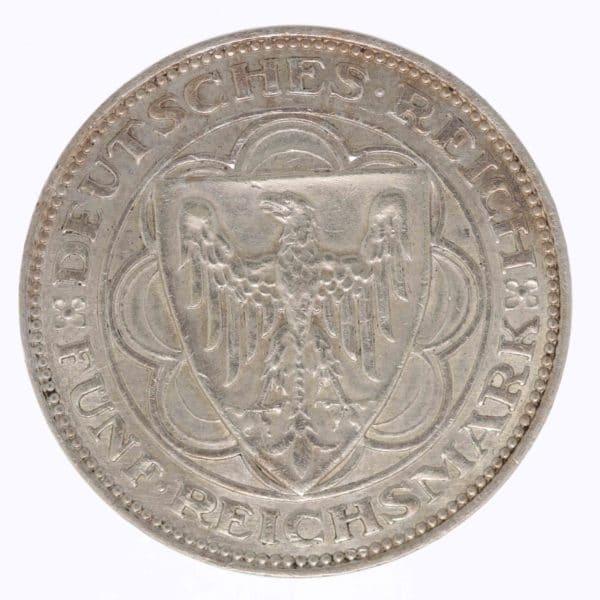 weimarer-republik-deutsche-silbermuenzen - Weimarer Republik 5 Reichsmark 1927 Bremerhaven