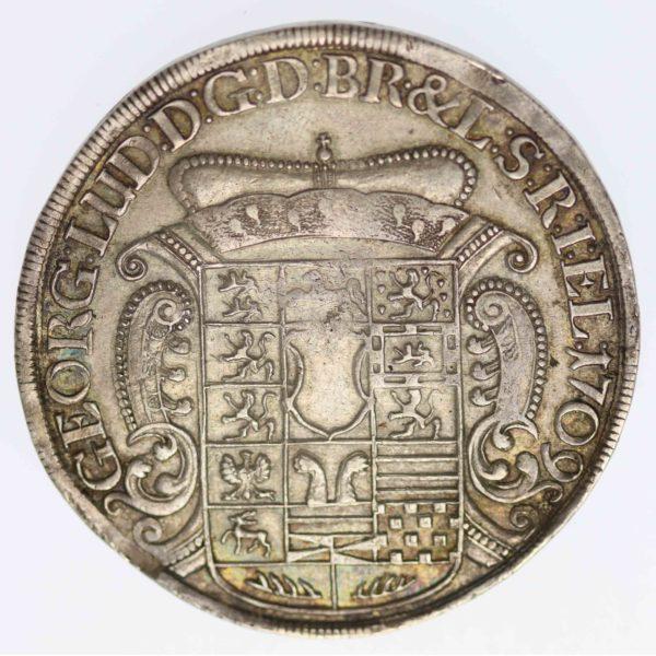 altdeutschland-deutsche-silbermuenzen - Braunschweig Lüneburg Georg I. Ludwig Reichstaler 1709