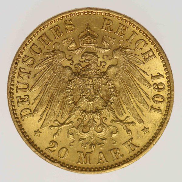 deutsches-kaiserreich-ab-1871 - Hessen Ernst Ludwig 20 Mark 1901