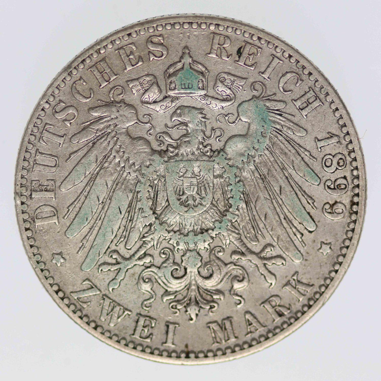 deutsches-kaiserreich-ab-1871-deutsche-silbermuenzen - Hessen Ernst Ludwig 2 Mark 1899