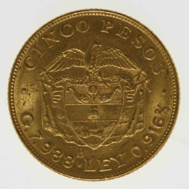 kolumbien - Kolumbien 5 Pesos 1924