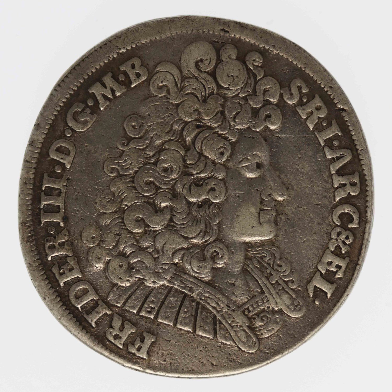 altdeutschland-deutsche-silbermuenzen - Preussen Friedrich III. 2/3 Taler 1691