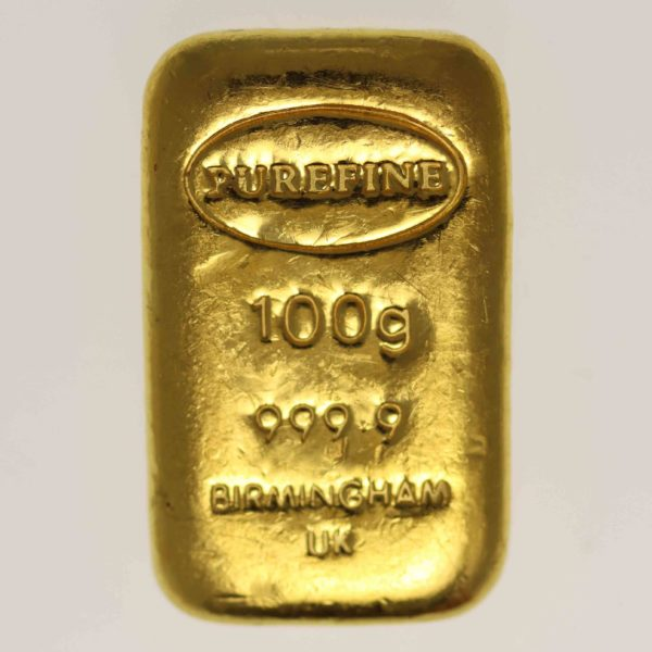 goldbarren - Goldbarren 100 Gramm Großbritannien Purefine Bullion Ltd. Birmingham