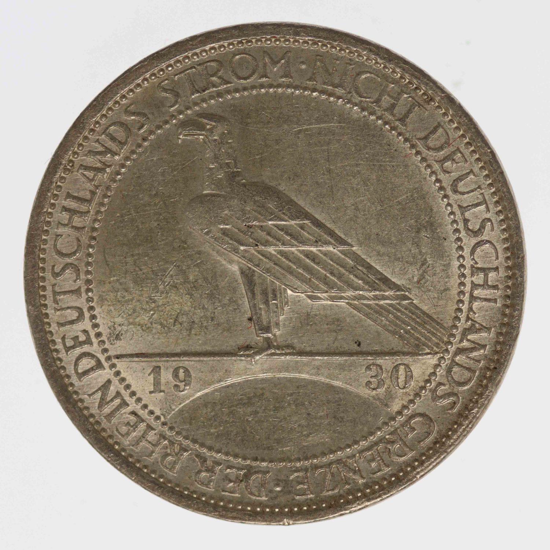 weimarer-republik-deutsche-silbermuenzen - Weimarer Republik 3 Reichsmark 1930 Rheinlandräumung